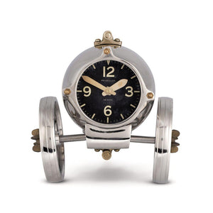 Rover Table Clock - Desk Clock - Mid Century Dial - Polished Aluminum - Brass- Atomic Age Clock Pendulux