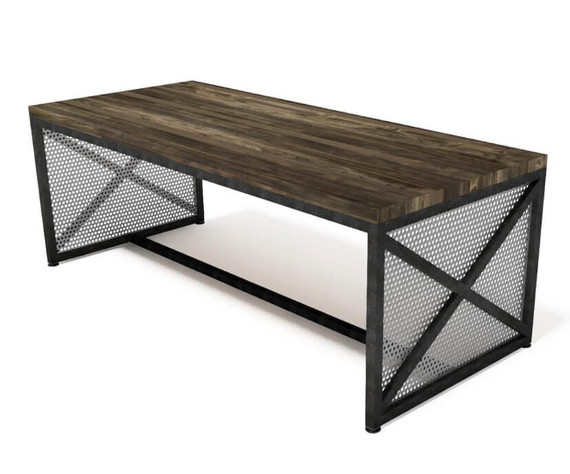 Rowan Hybrid Modern Industrial Communal Table - Steel Base - Wood Top Conference Table IAO