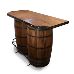 Rustic Repurposed Barrel Home Bar Table - Iron Foot Rest - Solid Wood - Rustic Deco Incorporated