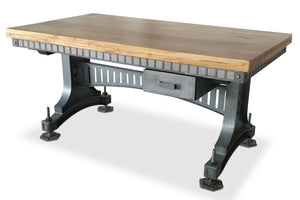 Industrial Adjustable Height Office Desk with Drawer - Iron Steel - Brunel-Rustic Deco Incorporated