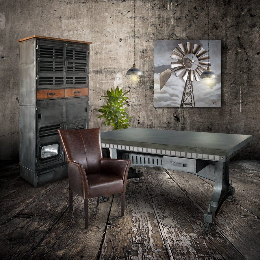 Industrial Adjustable Height Office Desk with Drawer - Iron Steel - Grey-Rustic Deco Incorporated