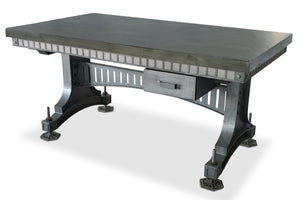 Industrial Adjustable Height Office Desk with Drawer - Iron Steel - Grey - Rustic Deco Incorporated