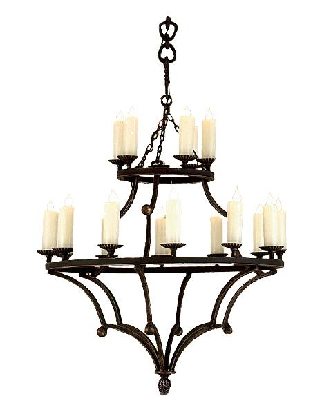 Rustic Elegant Hand Forged Iron Chandelier - 18 Light - 20 Light Lighting Ashore Small