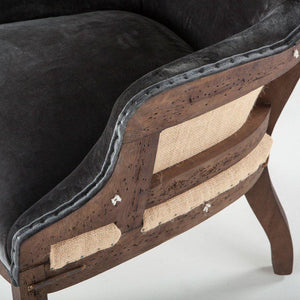 Rustic Farmhouse Arm Chair Deconstructed Back Paris Club Chair- Velvet - Distressed Dark Velvet Chair HT&D