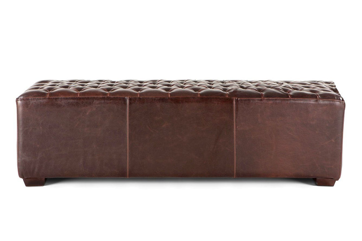"Rustic Farmhouse Brown Tufted Leather Bench 58"" Dining or Casual Bench - Rustic Deco Incorporated"