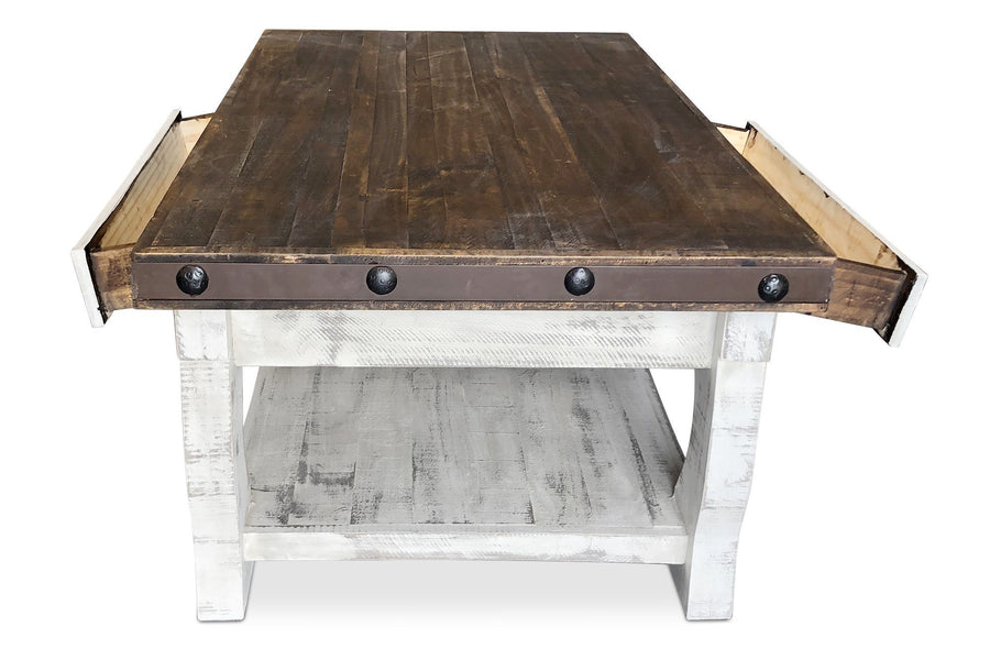 Rustic Farmhouse Coffee Table - Distressed Dark Walnut - Solid Wood - Rustic Deco Incorporated