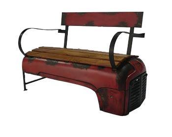 Rustic Farmhouse Recycled Vintage Red Tractor Bench Bench Rustic Deco