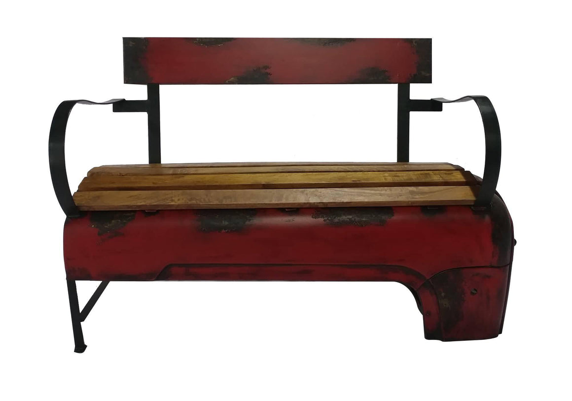 Rustic Farmhouse Recycled Vintage Red Tractor Bench - Rustic Deco Incorporated