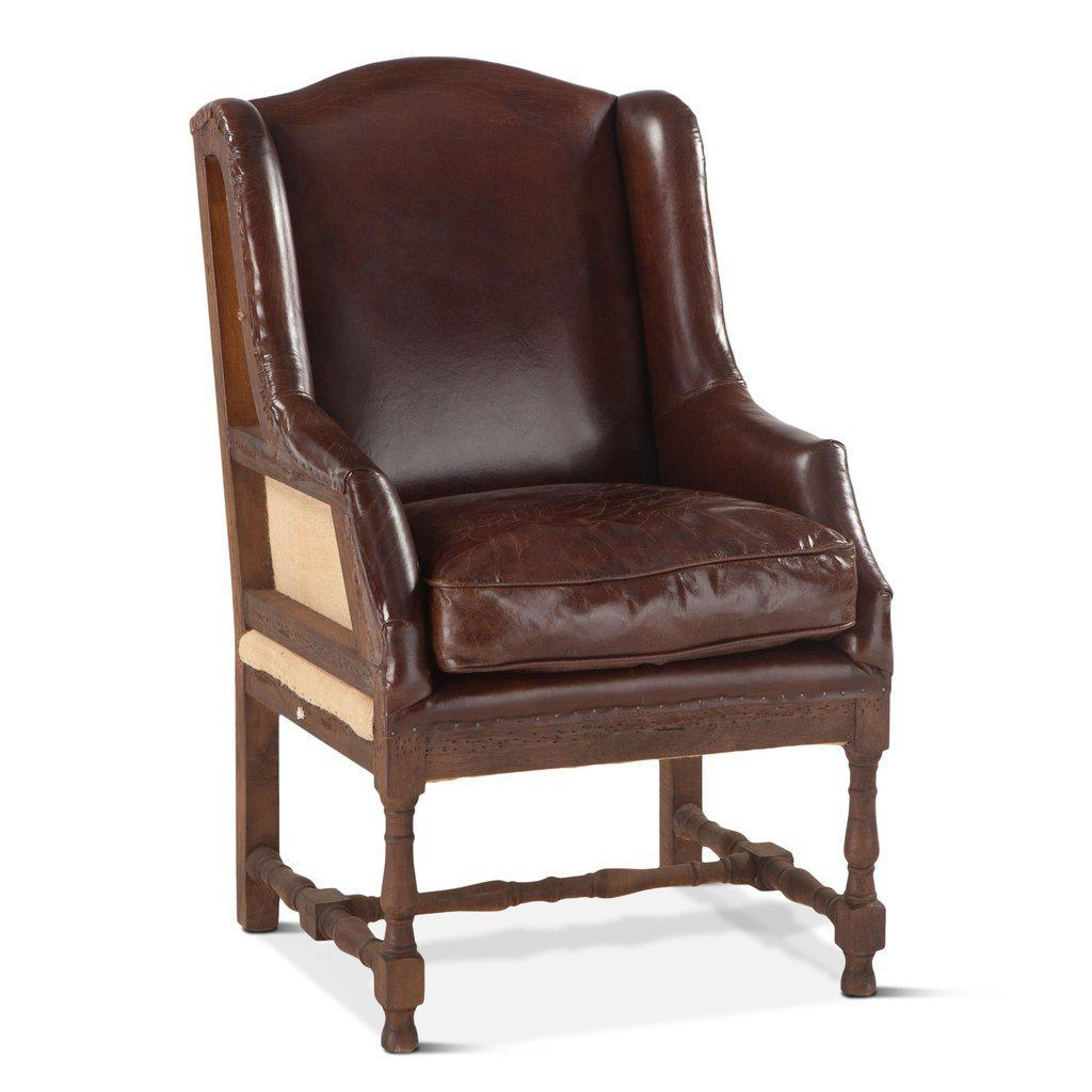 Deconstructed Back Sicily Cigar Arm Chair - Brown Leather - Rustic - Rustic Deco Incorporated