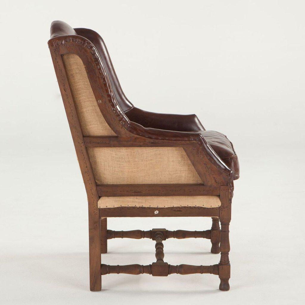 ... Deconstructed Back Sicily Cigar Arm Chair   Brown Leather   Rustic    Rustic Deco Incorporated ...