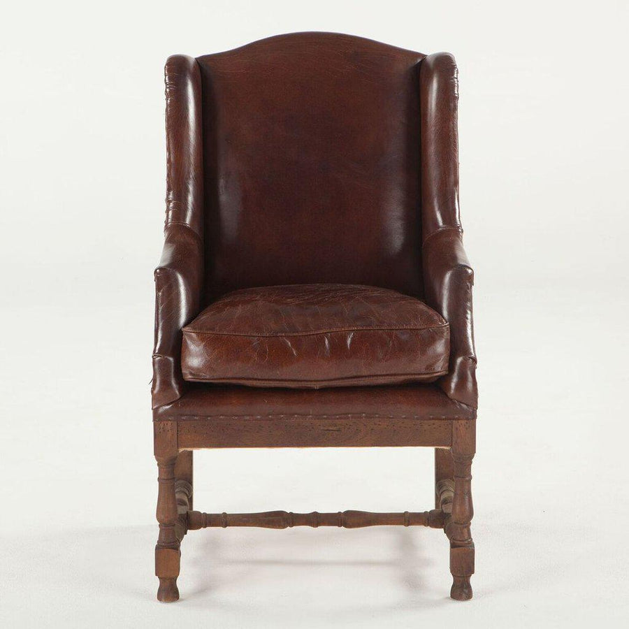 Rustic Farmhouse Sicily Club Chair Vintage Cigar Arm Chair Brown Leather Deconstructed Back Chair HT&D