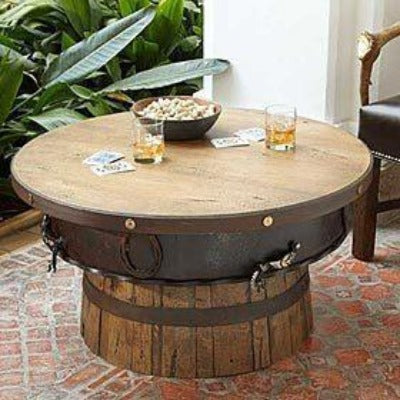 Rustic Half Barrel Coffee Table Western Cabin - Rustic Deco Incorporated