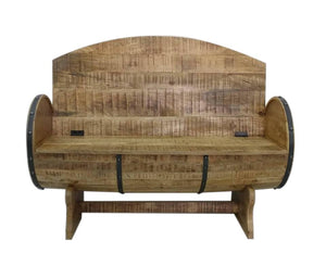 Rustic Handcrafted Barrel Bench Re-purposed - Solid Wood - Storage - Rustic Deco Incorporated
