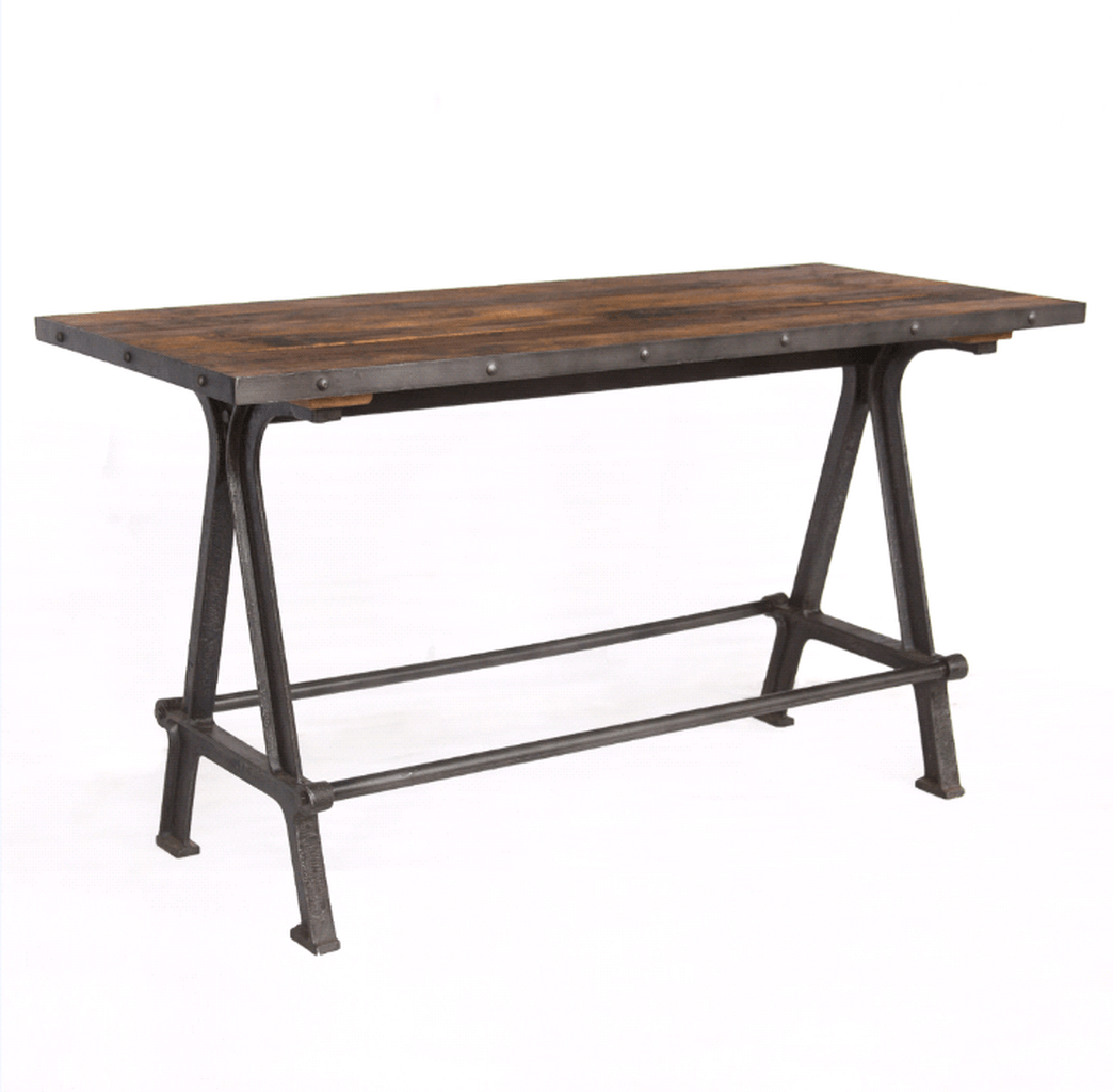 Rustic Industrial Gathering Pub Table - Reclaimed Wood - Cast Iron Legs - Rustic Deco Incorporated