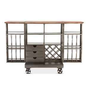 Industrial Metal Bar Wine Cabinet Cart - Iron Casters - Extendable - Rustic Deco Incorporated
