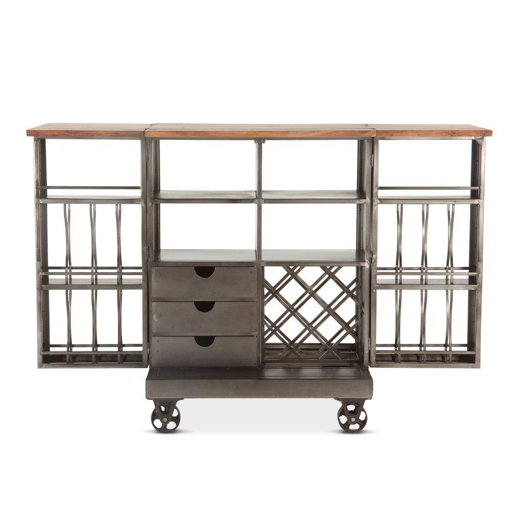 "Rustic Industrial Iron Metal Bar Cabinet Bar Cart - Iron Wheels - Extended Size 37"" to 73"" Open Bar HT&D"