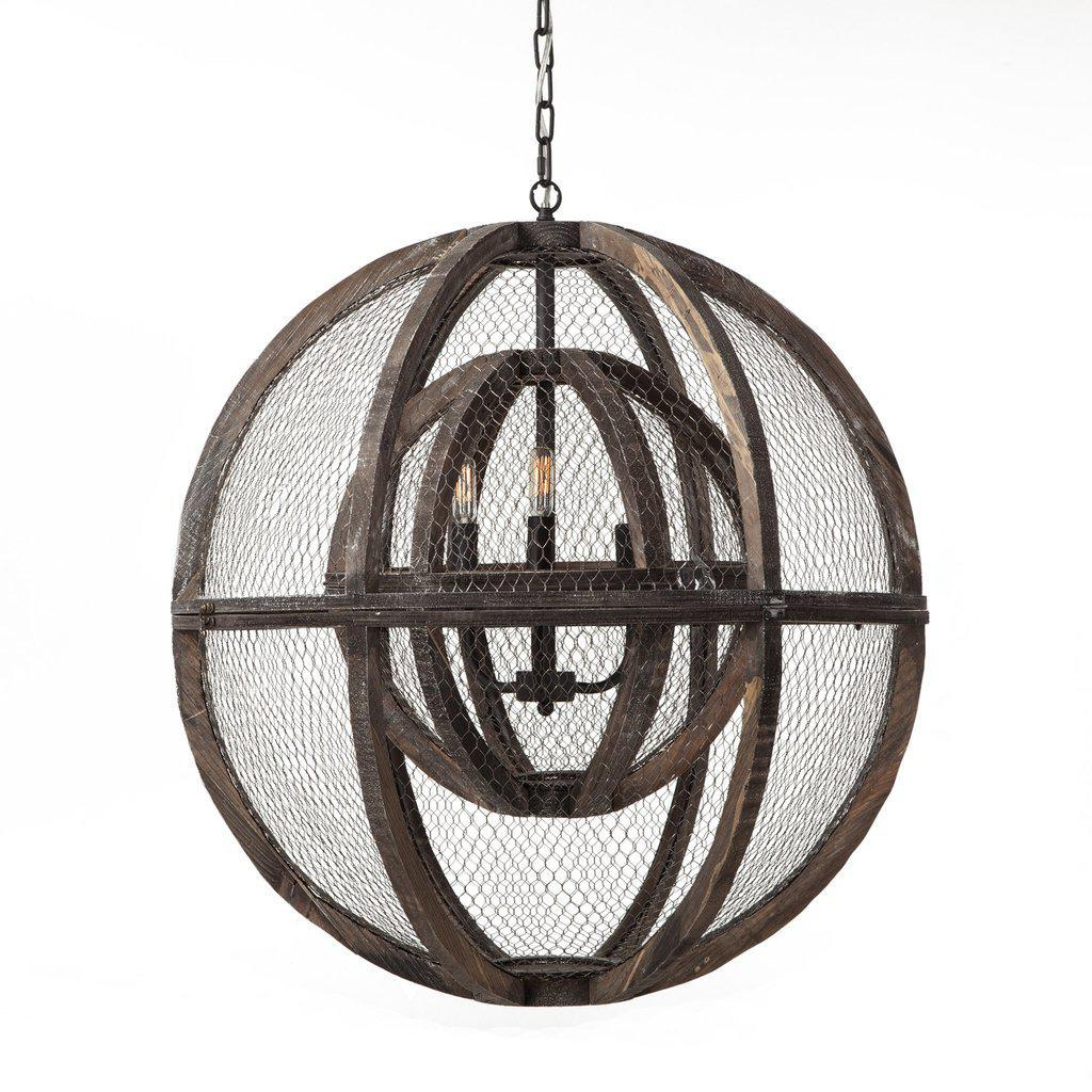 "Rustic Industrial Luminaire 30"" Large Ceiling Light - Pendant Light - Orb - Rustic Deco Incorporated"