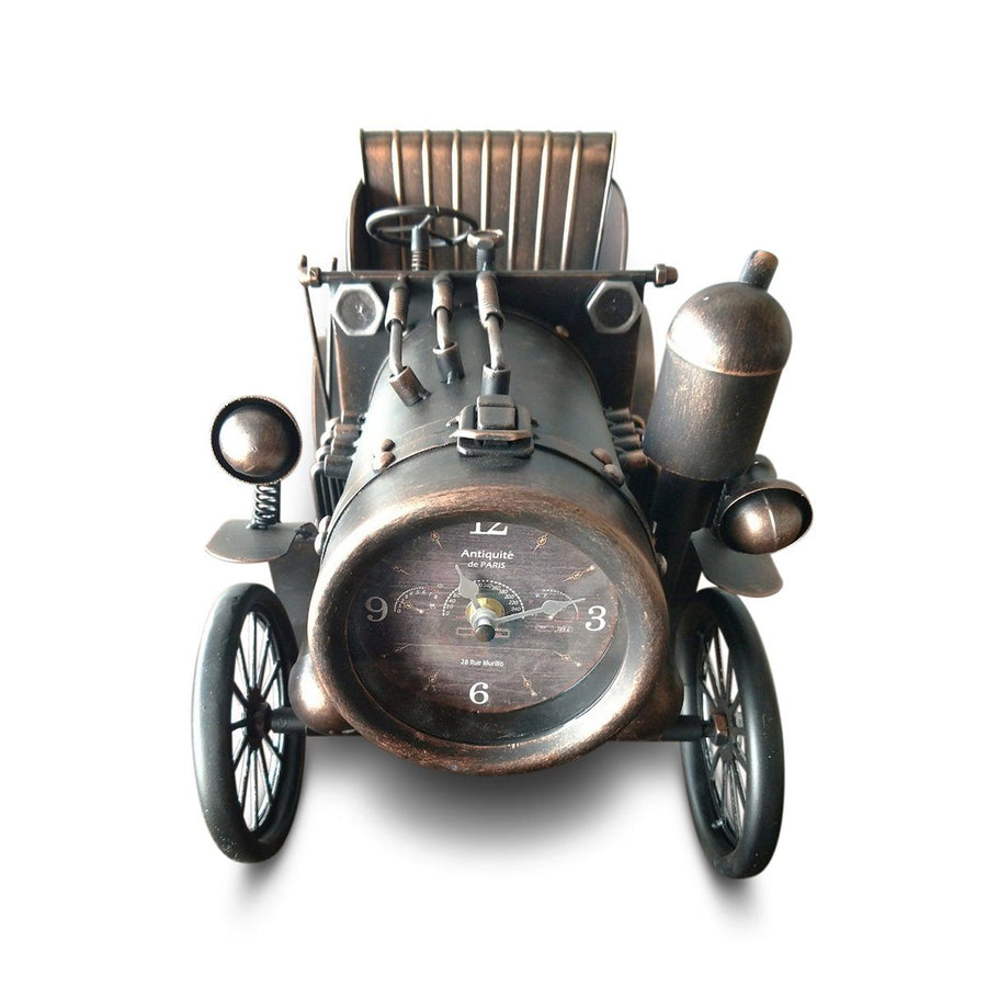 Rustic Industrial Metal Antique Car Table Clock-Rustic Deco Incorporated