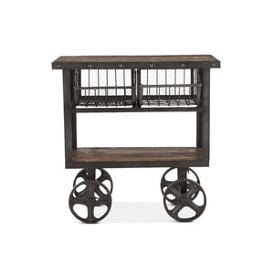 "Rustic Industrial Metal Bar Cart 36"" - Cast Iron Reclaimed Hardwood - Rustic Deco Incorporated"