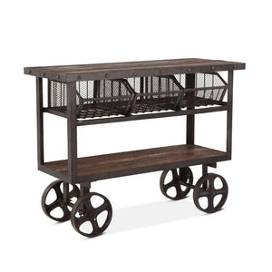 Rustic Industrial Metal Bar Cart - Cast Iron - Reclaimed Hardwood - Rustic Deco Incorporated