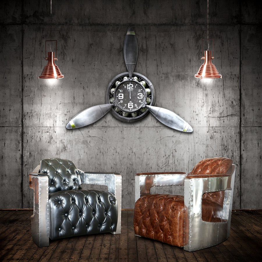 Rustic Industrial Metal Propeller Wall Clock-Rustic Deco Incorporated