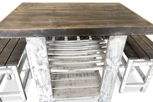 Rustic Kitchen Island Table Set - 2 Stools - Wine Rack - Farmhouse - Rustic Deco Incorporated