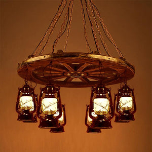 "Rustic Wagon Wheel with Lantern Light Chandelier 34""-Rustic Deco Incorporated"