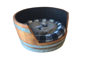 Rustic Wine Barrel Pet Bed - Dog Bed - Cat Bed - Custom - Rustic Deco Incorporated