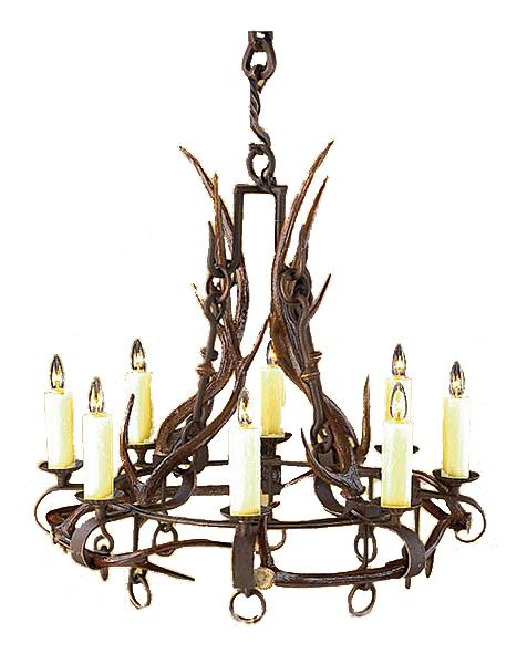 Santa Fe Hand Forged Iron Chandelier with Real Antlers - Western Lodge Lighting Ashore