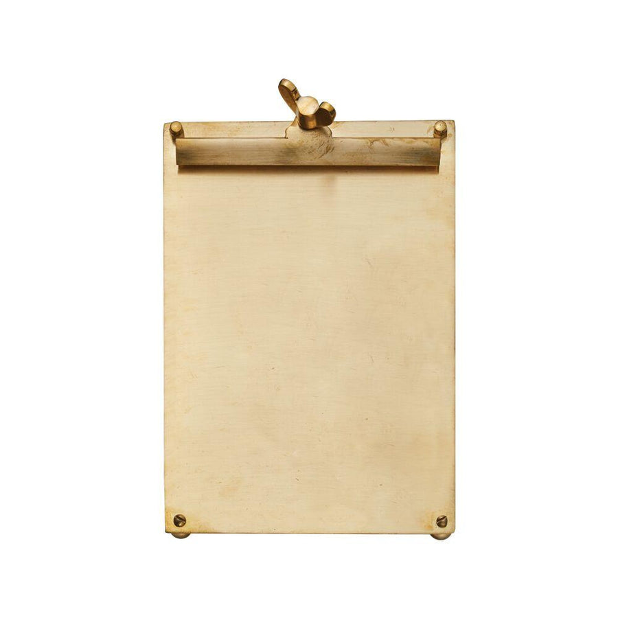 French Scribner Notepad Holder - Brass Small - Clipboard - Wingnut Screw - Rustic Deco Incorporated