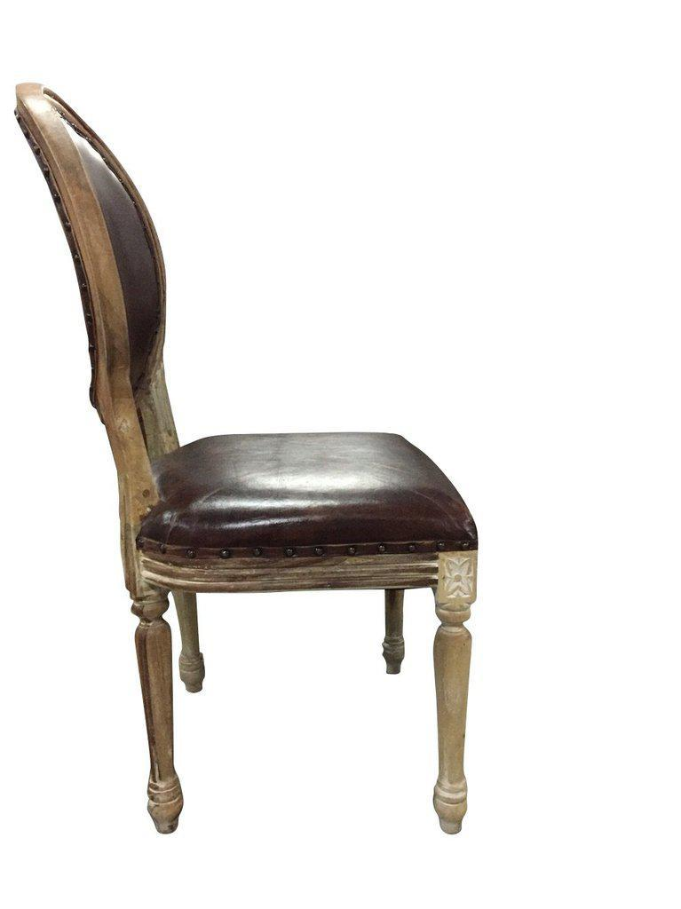 Classic French Empire Style Leather Dining Chair - French Country - Pair - Rustic Deco Incorporated