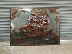 "Clipper Ship Rustic 3D Metal Wall Art - Nautical - 48"" x 36"" - Rustic Deco Incorporated"