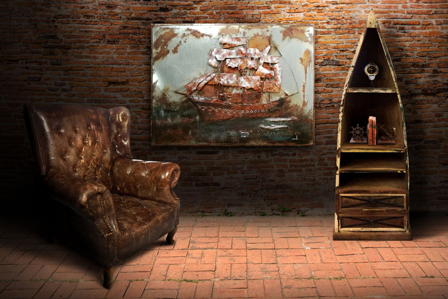 "Ship - 3D Metal Wall Art - Nautical - 48"" x 36"" Wall Art Rustic Deco"