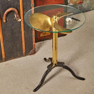 Ship Propeller Side Table - Brass Fixtures - Cast Iron - Vintage Nautical - Rustic Deco Incorporated