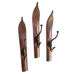 Wooden Ski Wall Hook Coat Hat Rack - Vintage - Handmade - Cast Iron-Rustic Deco Incorporated