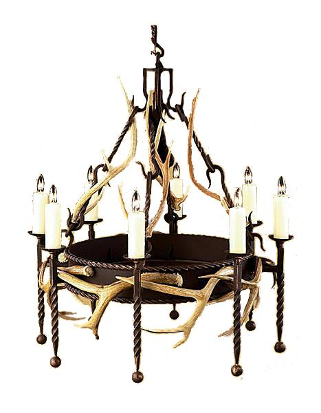 "Single Tier Lodge Hand Forged Iron Chandelier with Real Antlers - 3 Sizes Lighting Ashore 36"" , 6 light"