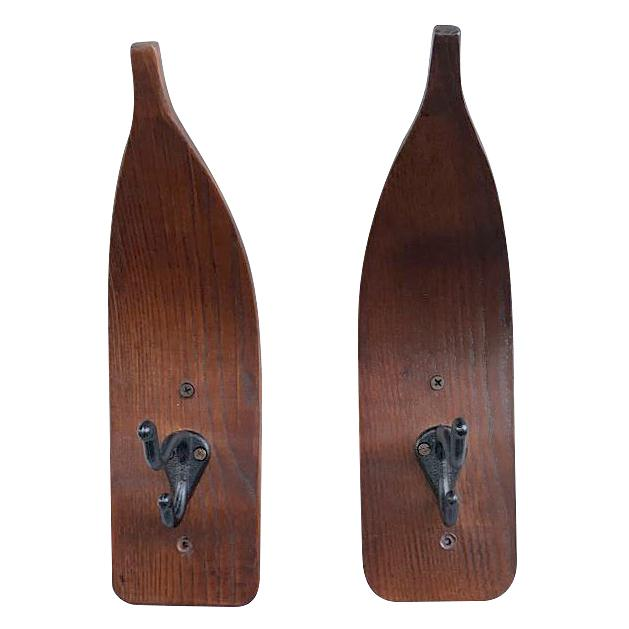 Wood Pointed-Tip Ski Wall Hooks - Cast Iron - Sold as a Pair - Rustic Deco Incorporated