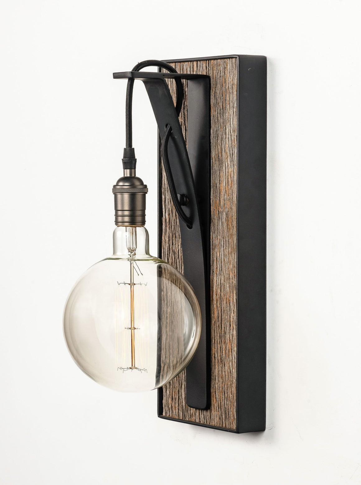 Small Hand Crafted Row Wall Sconce Gray Barnwood Lighting Carroll by Design