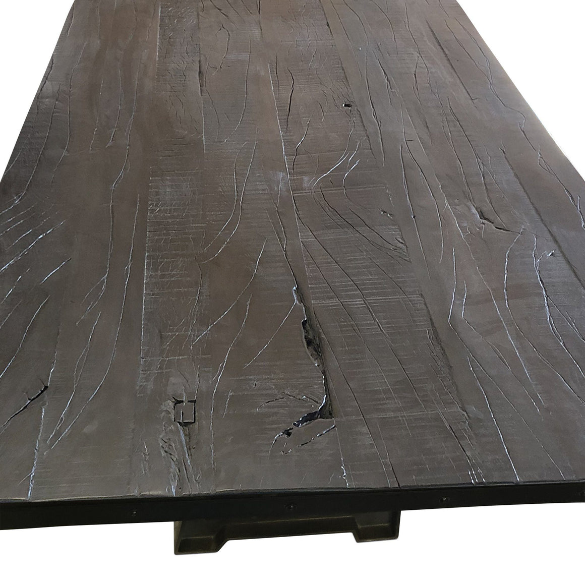 "Solid Acacia Reclaimed Distressed Wood Dining or Desk Top 80x40 2.25"" Dark Dining Table Rustic Deco"