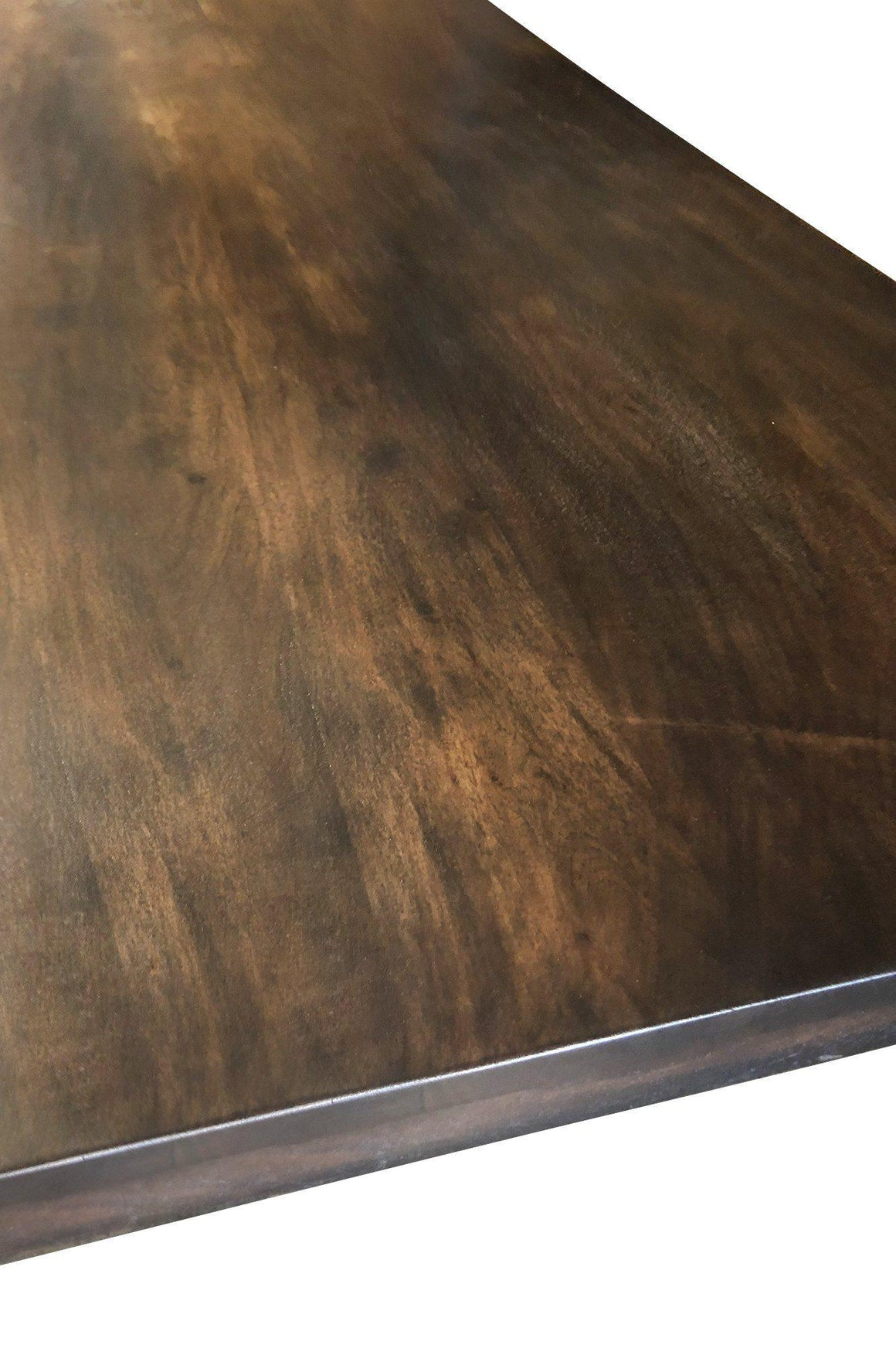 "Solid Acacia Wood Dining or Desk Top 80x40 2.25"" Steampunk Dark Stain-Rustic Deco Incorporated"