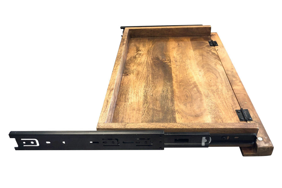 Industrial Desk Retractable Keyboard Tray - Rustic Solid Wood - Steel - Rustic Deco Incorporated