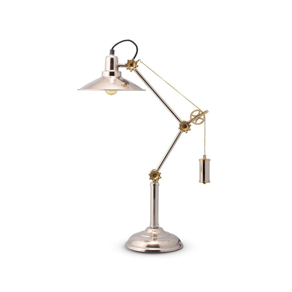 "Southampton Table Lamp - Desk Top - Nickel Brass - Industrial - 33"" High - Rustic Deco Incorporated"