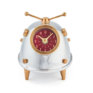 Space Bug Table Clock - Atomic Age - Polished Cast Aluminum - Brass - Rustic Deco Incorporated
