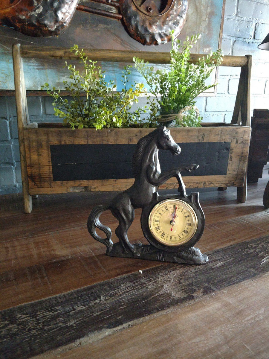 Rearing Stallion Metal Table Clock - Cast Iron Sculpture - Rustic Deco Incorporated