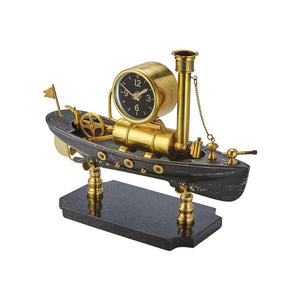 Steamboat Table Clock - Nautical Steampunk Desk Clock - Solid Brass - Maritime Clock Pendulux