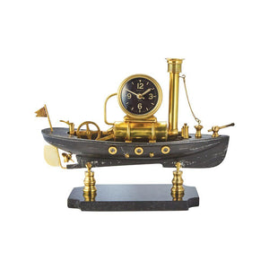 Steamboat Table Clock - Nautical Steampunk Desk Clock - Solid Brass - Maritime - Rustic Deco Incorporated