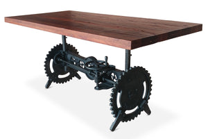 Steampunk Adjustable Dining Table - Iron Crank Base Reclaimed Wood Top - Rustic Deco Incorporated