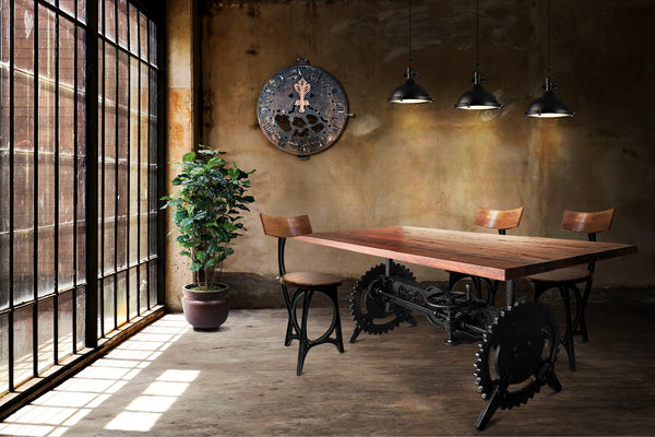 Steampunk Adjustable Dining Table Iron Crank Base Reclaimed Wood Top