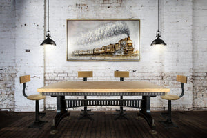 Industrial Adjustable Height Dining Table - Steel Brass - Brunel - Natural-Rustic Deco Incorporated