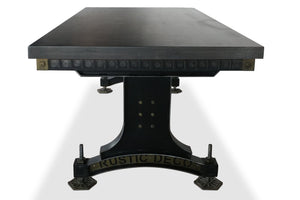 Industrial Adjustable Height Dining Table - Steel Brass - Brunel Bridge - Grey - Rustic Deco Incorporated